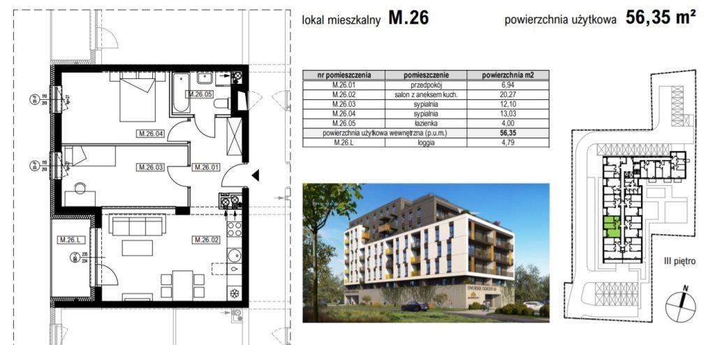 Mieszkanie trzypokojowe na sprzedaż Rzeszów, Krakowska  56m2 Foto 1