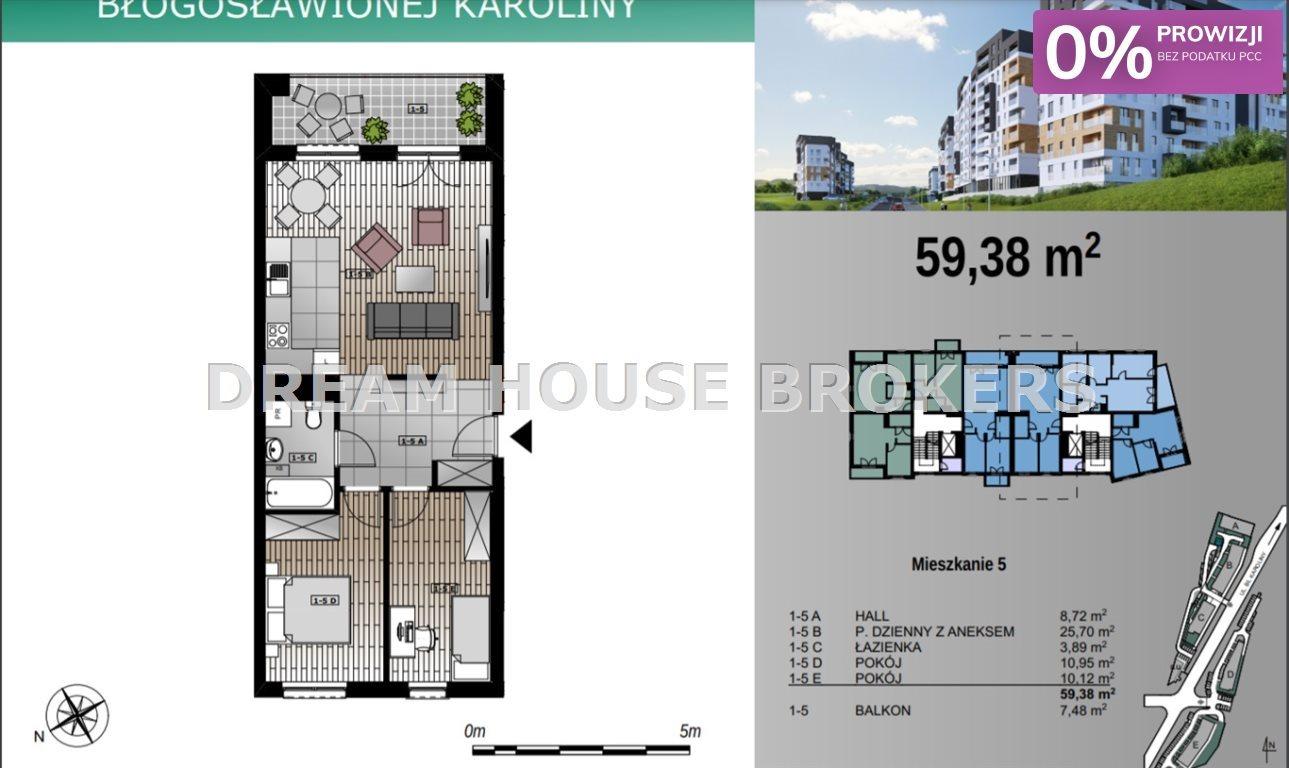Mieszkanie trzypokojowe na sprzedaż Rzeszów, Przybyszówka, Karoliny  59m2 Foto 5