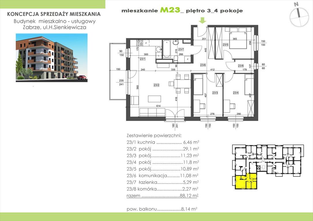 Mieszkanie czteropokojowe  na sprzedaż Zabrze, Centrum, Sienkiewicza 15  89m2 Foto 1