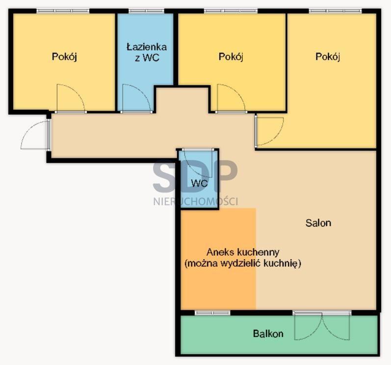 Mieszkanie czteropokojowe  na sprzedaż Wrocław, Krzyki, Jagodno, Komedy Krzystofa  75m2 Foto 2