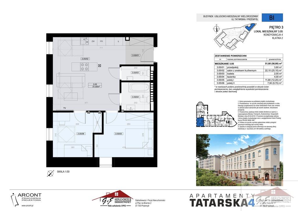 Mieszkanie trzypokojowe na sprzedaż Przemyśl, Tatarska  52m2 Foto 6