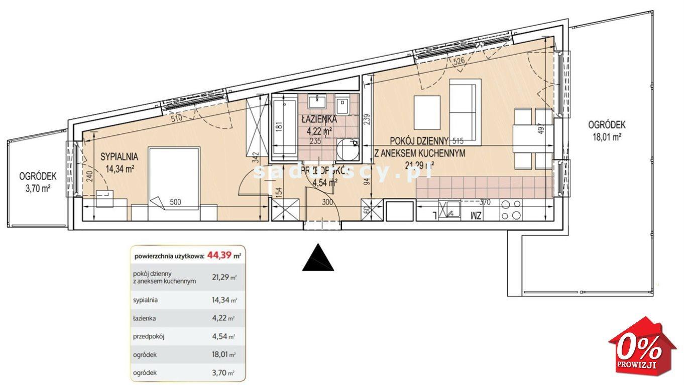 Mieszkanie dwupokojowe na sprzedaż Kraków, Podgórze, Brożka - okolice  44m2 Foto 3