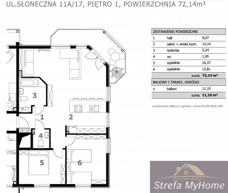 Mieszkanie trzypokojowe na sprzedaż Łukęcin  72m2 Foto 6
