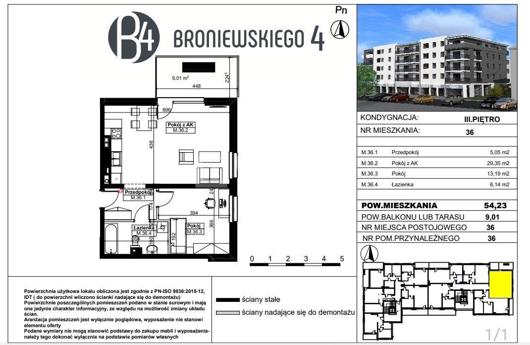 Mieszkanie trzypokojowe na sprzedaż Piotrków Trybunalski, Wyzwolenia, Broniewskiego  60m2 Foto 1