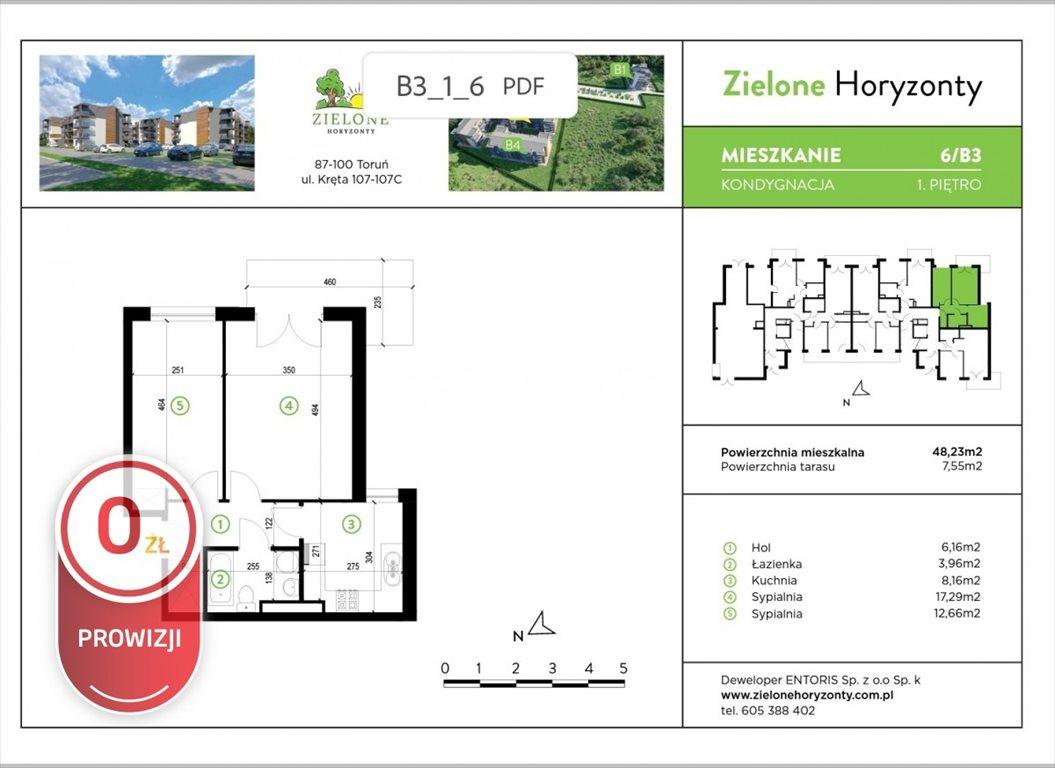 Mieszkanie dwupokojowe na sprzedaż Toruń, Kręta  48m2 Foto 3