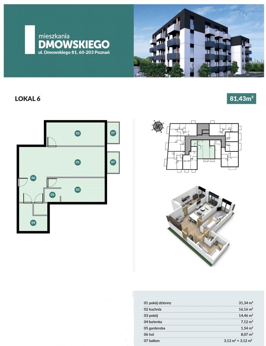 Mieszkanie dwupokojowe na sprzedaż Poznań, Górczyn, Romana Dmowskiego  65m2 Foto 2