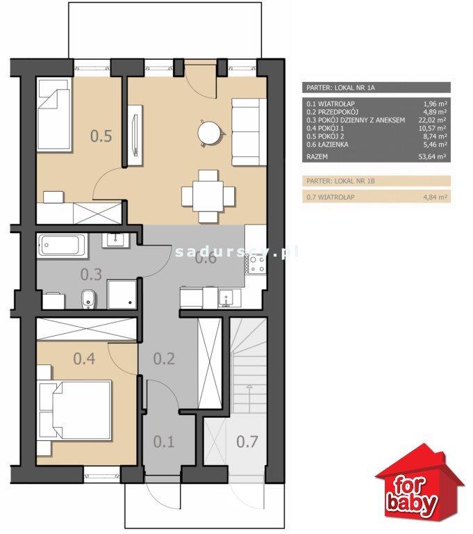 Mieszkanie trzypokojowe na sprzedaż Chorągwica  54m2 Foto 3