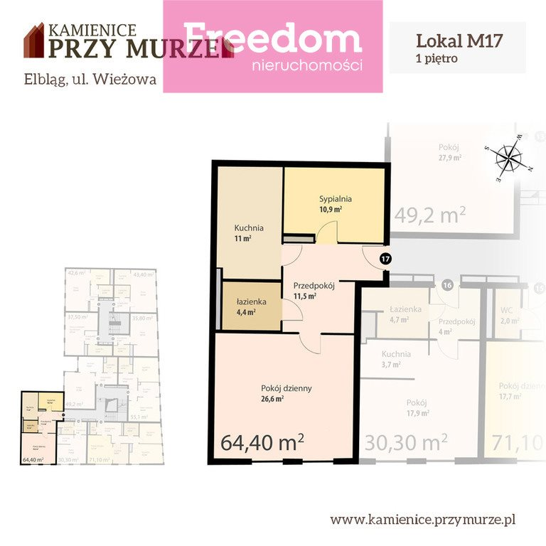 Mieszkanie dwupokojowe na sprzedaż Elbląg, Wieżowa  64m2 Foto 3