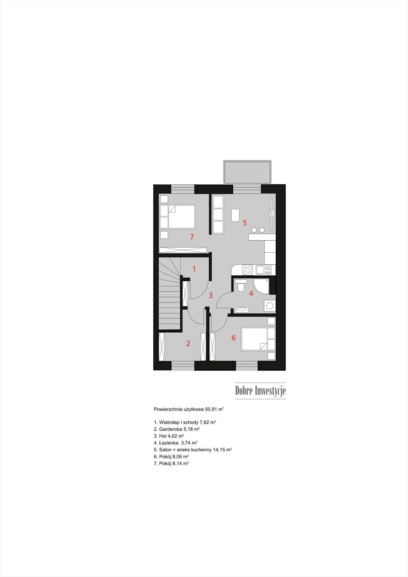 Mieszkanie trzypokojowe na sprzedaż Niepołomice, Wrzosowa  51m2 Foto 8