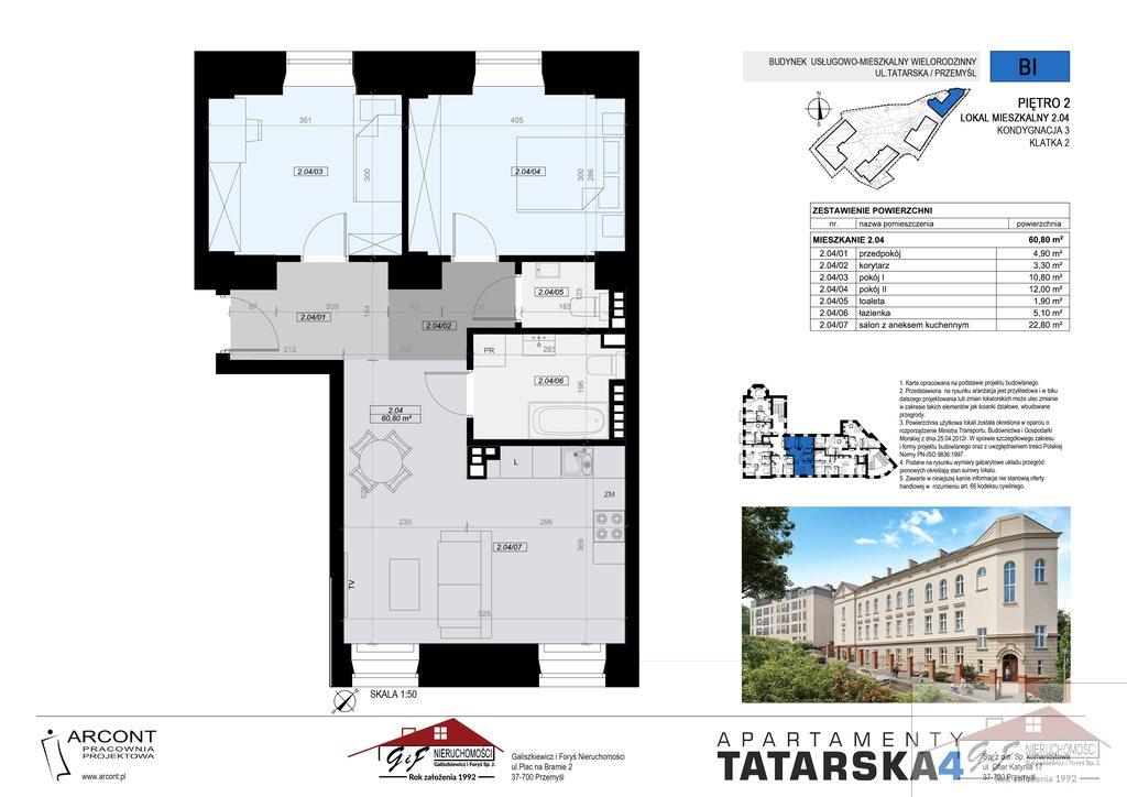 Mieszkanie trzypokojowe na sprzedaż Przemyśl, Tatarska  61m2 Foto 7