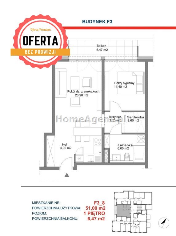 Mieszkanie dwupokojowe na sprzedaż Katowice, Kostuchna  51m2 Foto 8