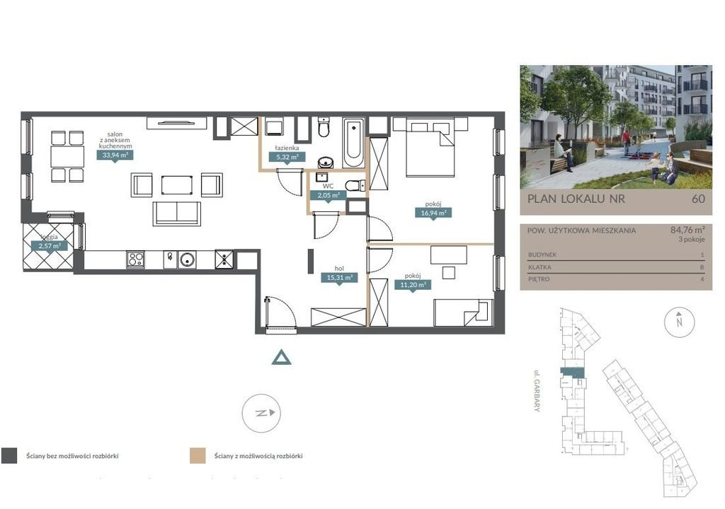 Mieszkanie trzypokojowe na sprzedaż Poznań, Garbary, Garbary, Garbary  85m2 Foto 4