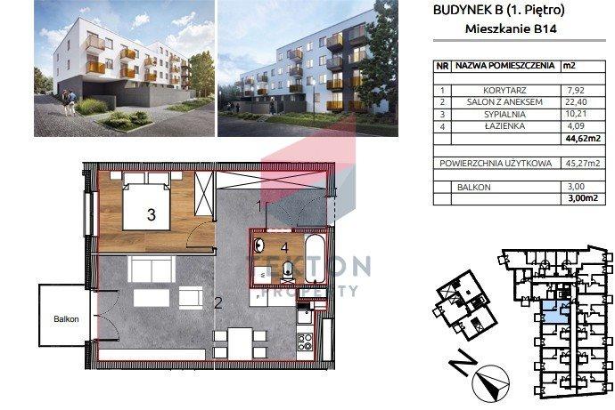 Mieszkanie dwupokojowe na sprzedaż Wrocław, Księże Małe, Rybnicka  45m2 Foto 1