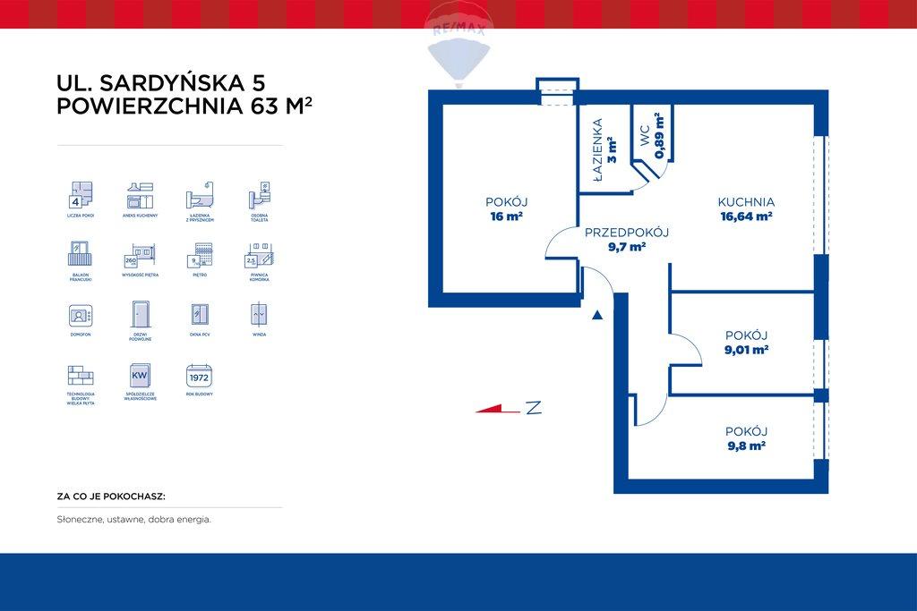 Mieszkanie czteropokojowe  na sprzedaż Warszawa, Mokotów, Stegny  64m2 Foto 13