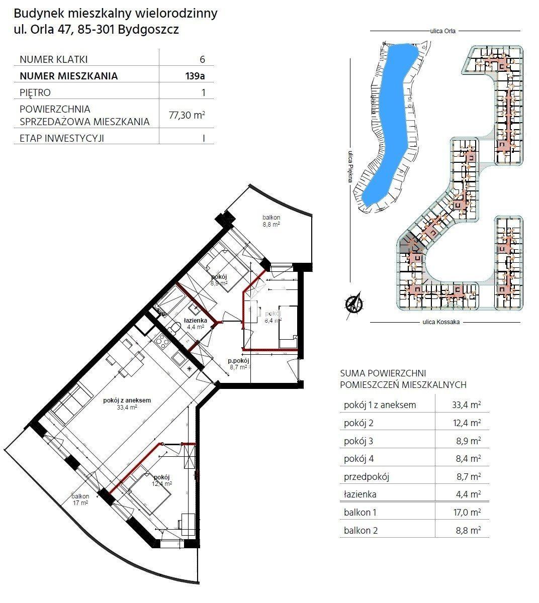 Mieszkanie czteropokojowe  na sprzedaż Bydgoszcz, Górzyskowo, Orla  77m2 Foto 10