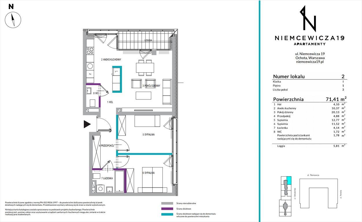 Mieszkanie trzypokojowe na sprzedaż Warszawa, Ochota, Niemcewicza 19  71m2 Foto 1