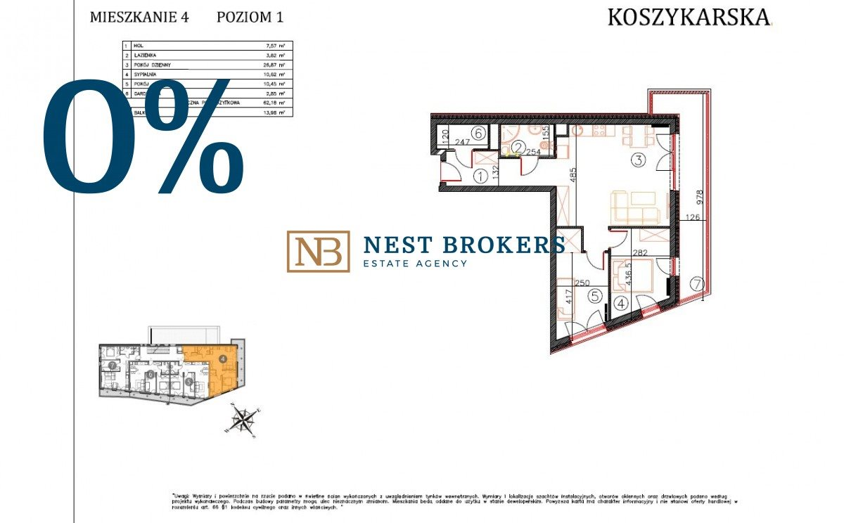 Mieszkanie trzypokojowe na sprzedaż Kraków, Płaszów, Koszykarska  62m2 Foto 2