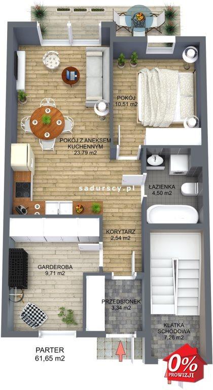 Mieszkanie trzypokojowe na sprzedaż Niepołomice, Portowa  54m2 Foto 4