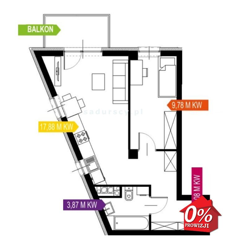 Mieszkanie dwupokojowe na sprzedaż Kraków, Prądnik Biały, Prądnik Biały, Kazimierza Wyki - okolice  40m2 Foto 3