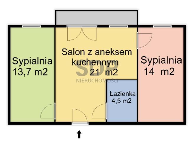 Mieszkanie dwupokojowe na sprzedaż Wrocław, Krzyki, Tarnogaj, Tarnogajska  52m2 Foto 5