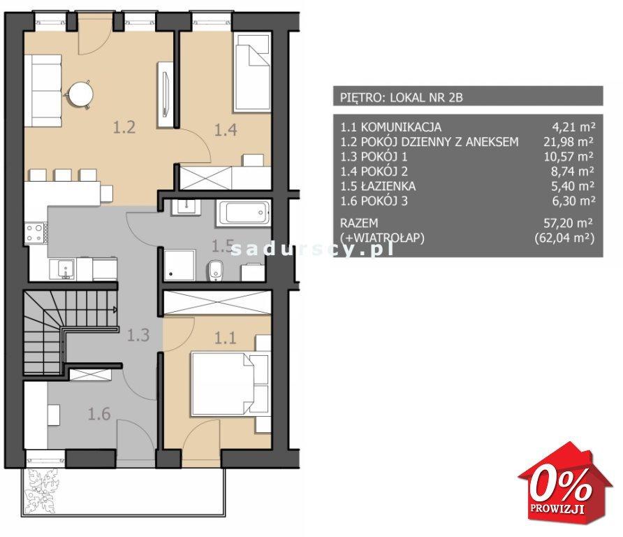Mieszkanie trzypokojowe na sprzedaż Chorągwica  62m2 Foto 3