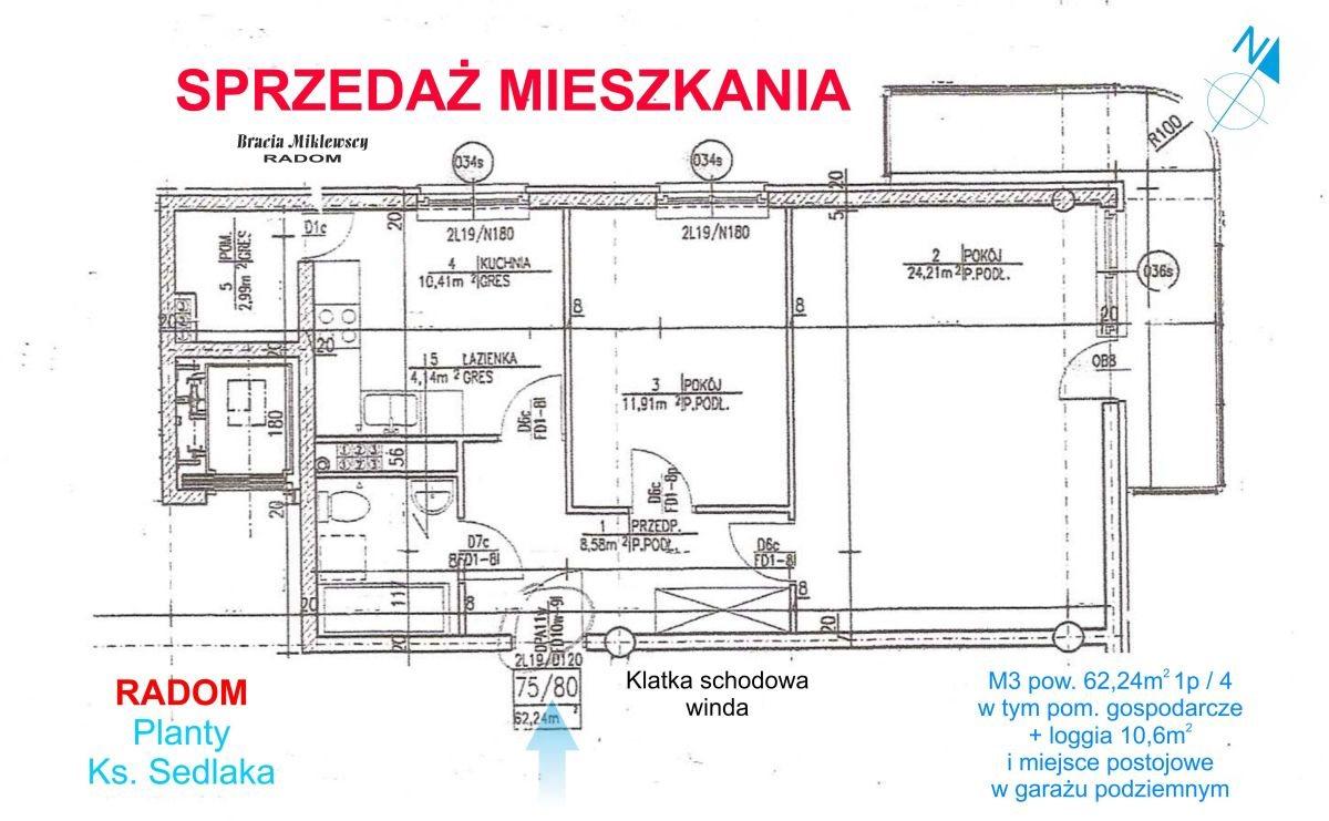Mieszkanie dwupokojowe na sprzedaż Radom, Planty, ks.Sedlaka 4/6/8  62m2 Foto 3