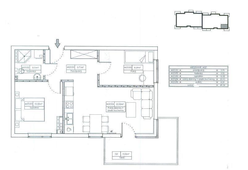 Mieszkanie trzypokojowe na sprzedaż Grudziądz  49m2 Foto 3
