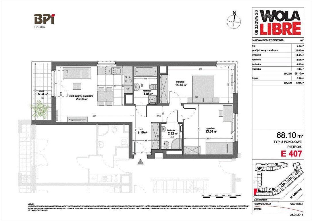 Mieszkanie trzypokojowe na wynajem Warszawa, Wola, Wola Libre, Obozowa 20  68m2 Foto 15