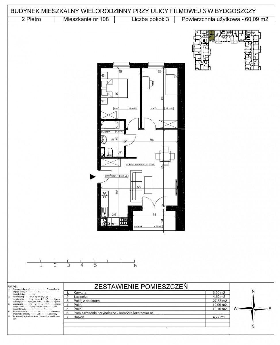 Mieszkanie trzypokojowe na sprzedaż Bydgoszcz, Bartodzieje Małe, Filmowa  60m2 Foto 5