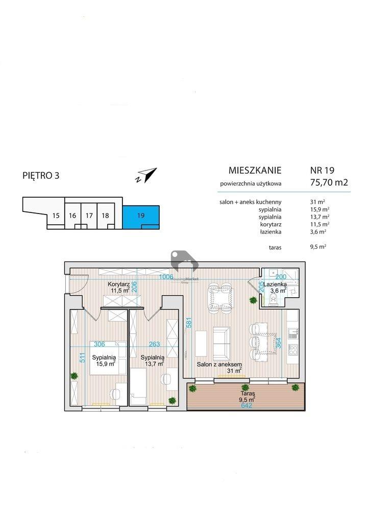 Mieszkanie trzypokojowe na sprzedaż Bydgoszcz, Wilczak, Dolina  76m2 Foto 2