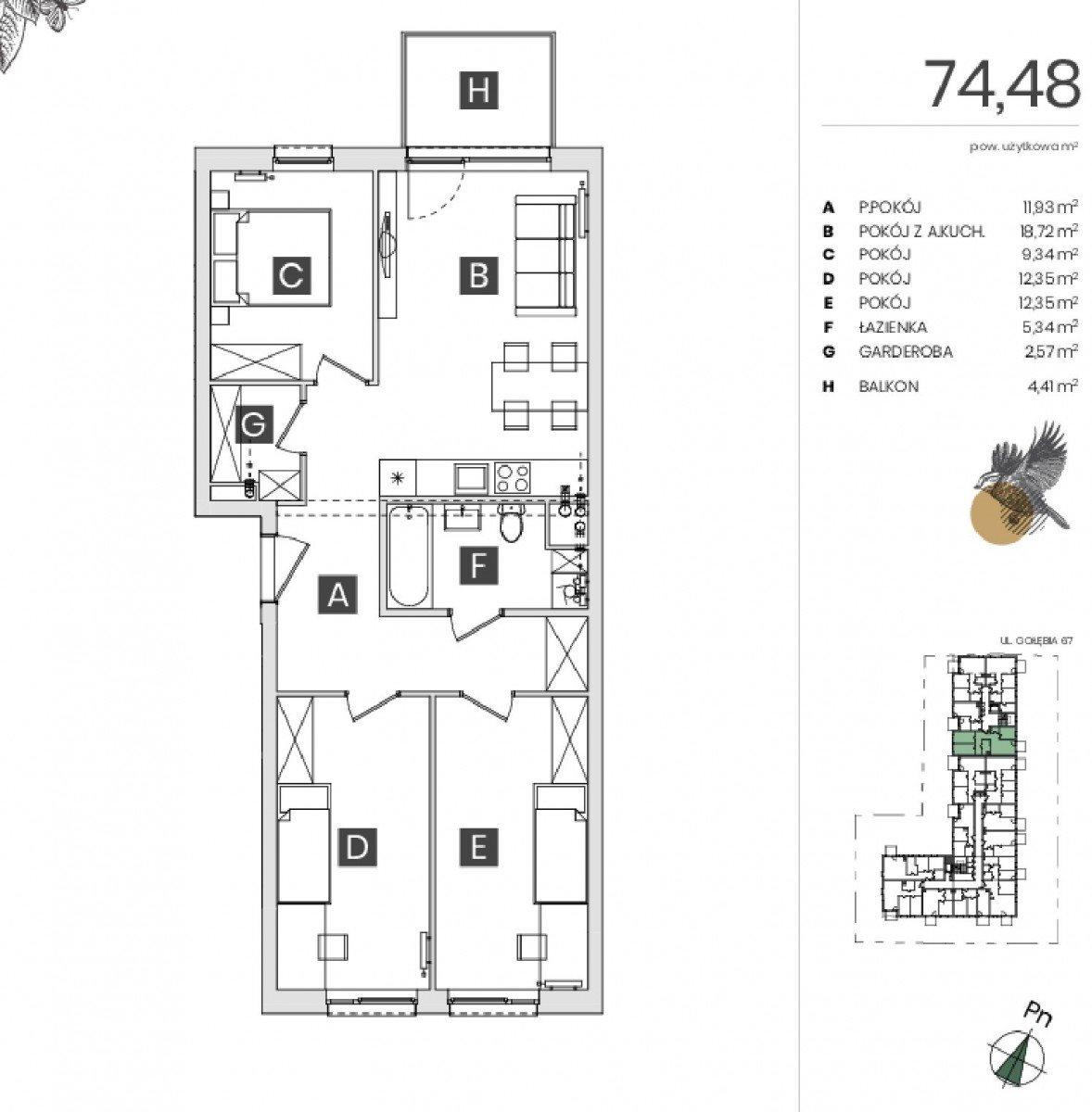 Mieszkanie czteropokojowe  na sprzedaż Bydgoszcz, Górzyskowo, Gołębia  74m2 Foto 5