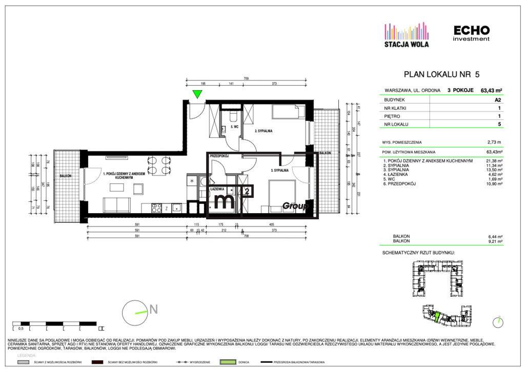 Mieszkanie trzypokojowe na sprzedaż Warszawa, Wola, Juliana Konstantego Ordona  63m2 Foto 1