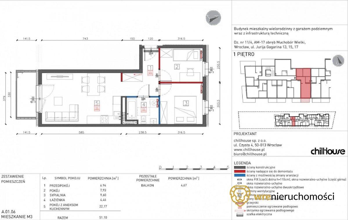 Mieszkanie trzypokojowe na sprzedaż Wrocław, Muchobór Wielki, Jurija Gagarina  51m2 Foto 7