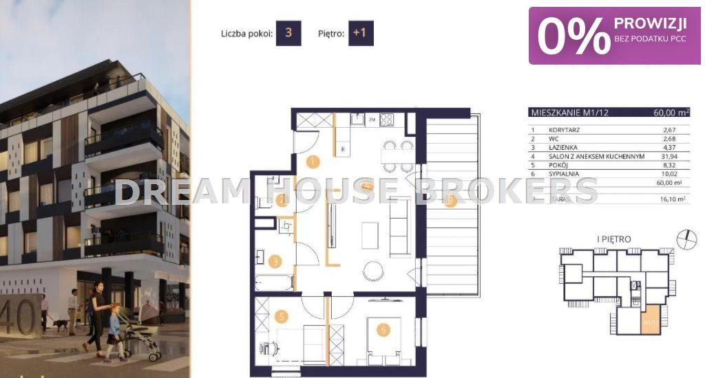 Mieszkanie trzypokojowe na sprzedaż Rzeszów, Drabinianka, Strażacka  60m2 Foto 3