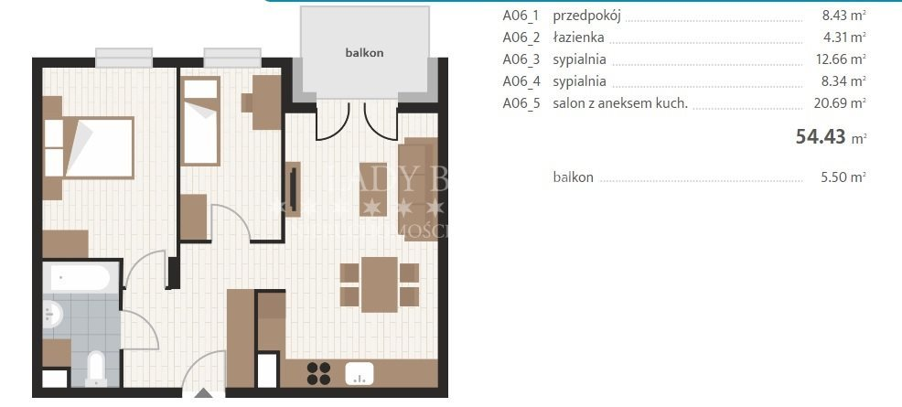 Mieszkanie trzypokojowe na sprzedaż Rzeszów, Baranówka, Prymasa 1000-lecia  54m2 Foto 6