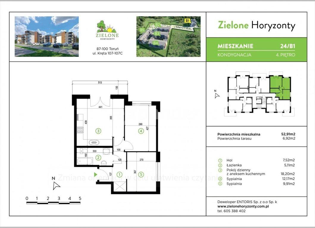 Mieszkanie trzypokojowe na sprzedaż Toruń, Kręta  53m2 Foto 1