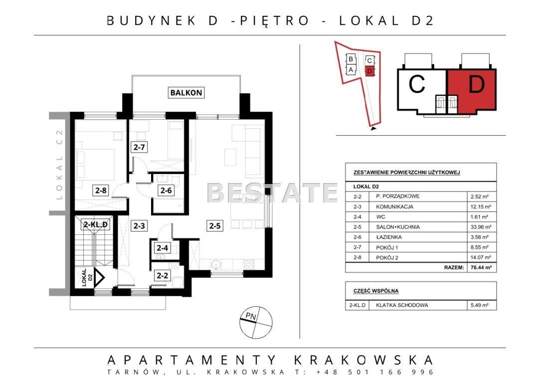 Mieszkanie trzypokojowe na sprzedaż Tarnów  76m2 Foto 4