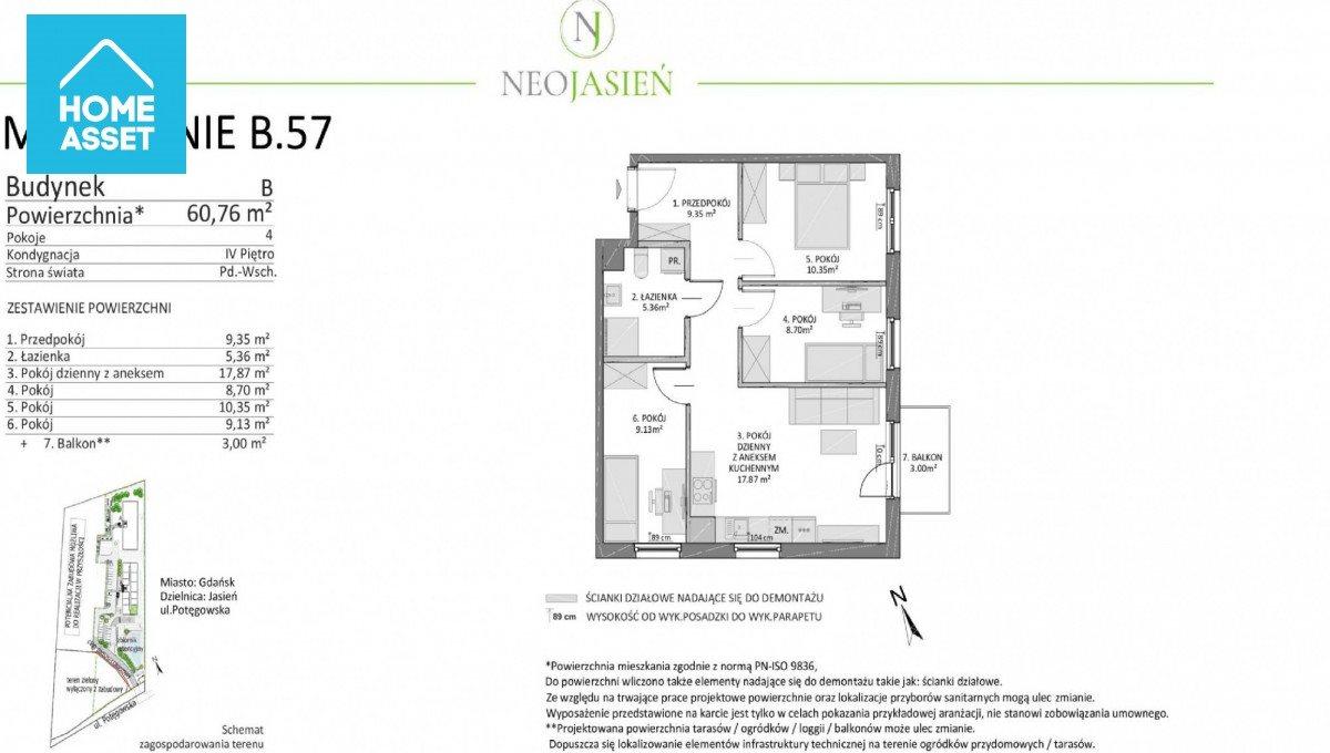 Mieszkanie czteropokojowe  na sprzedaż Gdańsk, Jasień, Potęgowska  61m2 Foto 4