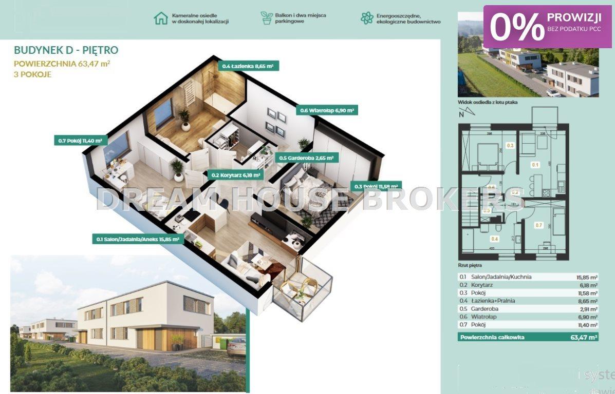 Mieszkanie trzypokojowe na sprzedaż Załęże, Jaspisowa  63m2 Foto 4