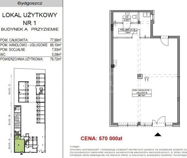 Lokal użytkowy na sprzedaż Bydgoszcz, Okole  78m2 Foto 2