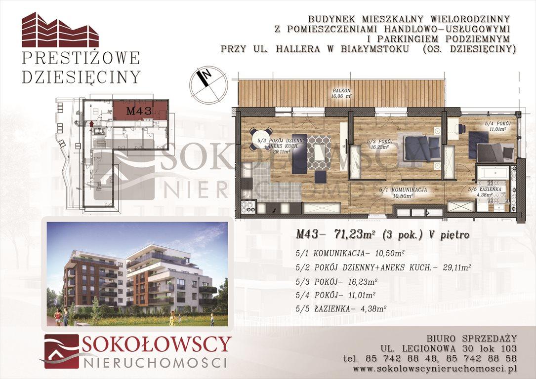 Mieszkanie trzypokojowe na sprzedaż Białystok, Dziesięciny, ul. Generała Józefa Hallera  71m2 Foto 1