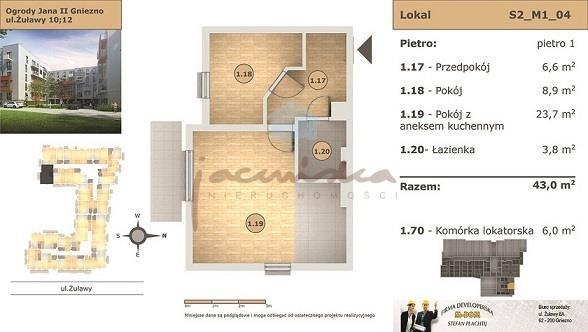 Mieszkanie dwupokojowe na wynajem Gniezno, Centrum, Żuławy  43m2 Foto 11