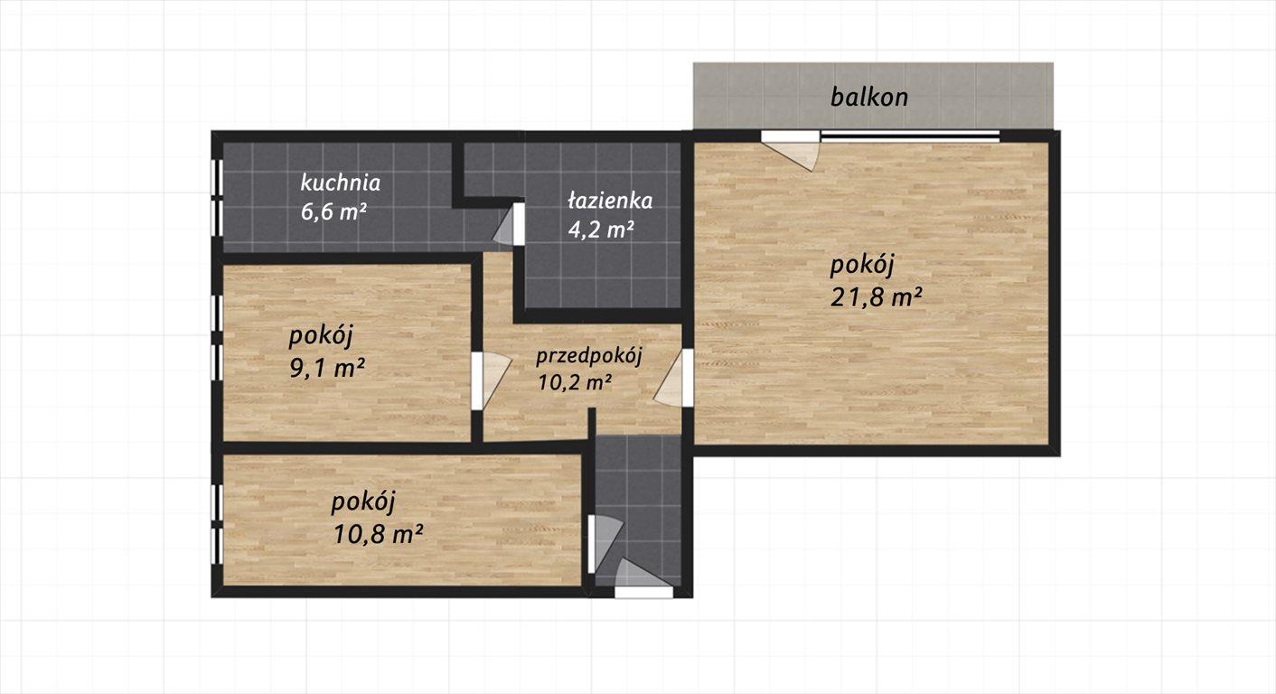 Mieszkanie trzypokojowe na sprzedaż Poznań, Jeżyce, Winiary, Poznań  63m2 Foto 2