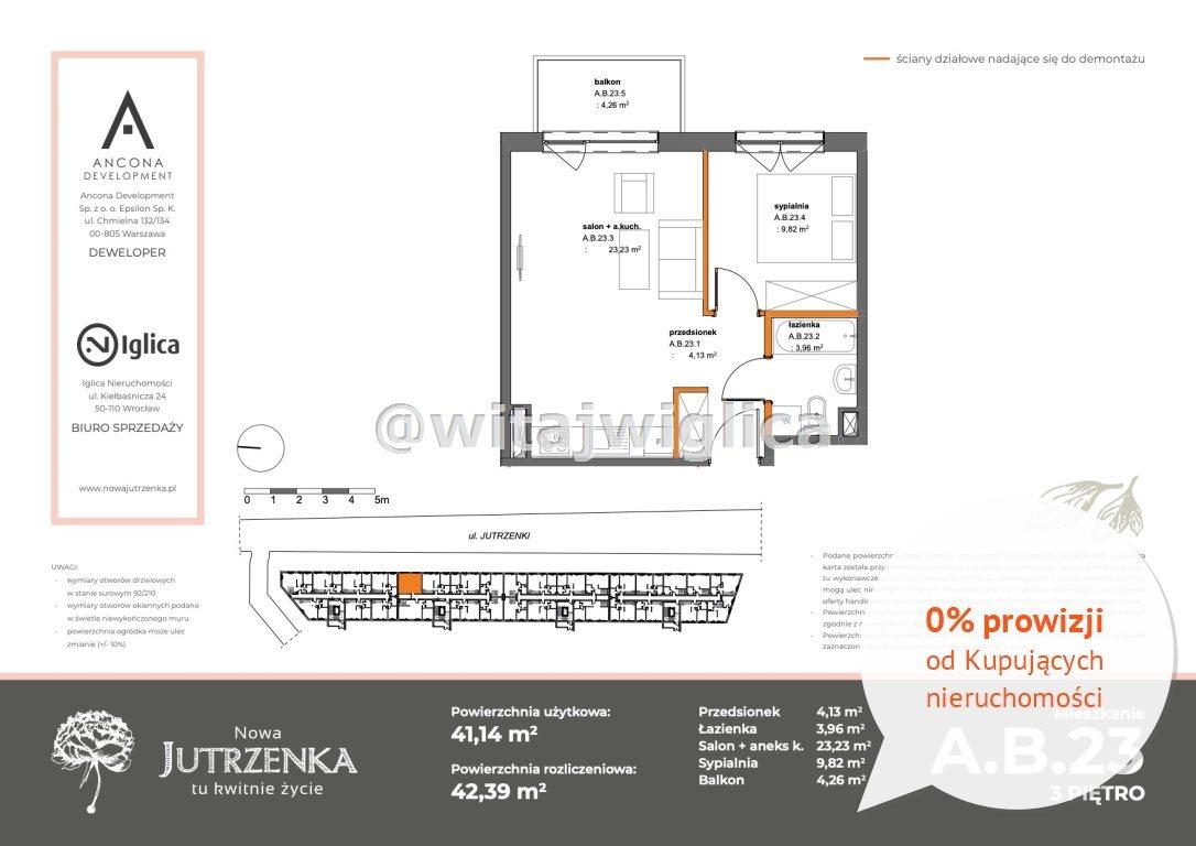 Mieszkanie dwupokojowe na sprzedaż Wrocław, Krzyki, Klecina, Jutrzenki  42m2 Foto 1