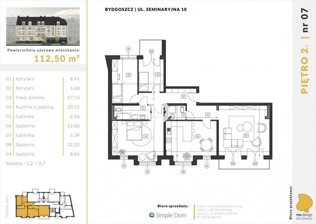Mieszkanie na sprzedaż Bydgoszcz, Błonie, Seminaryjna  113m2 Foto 2