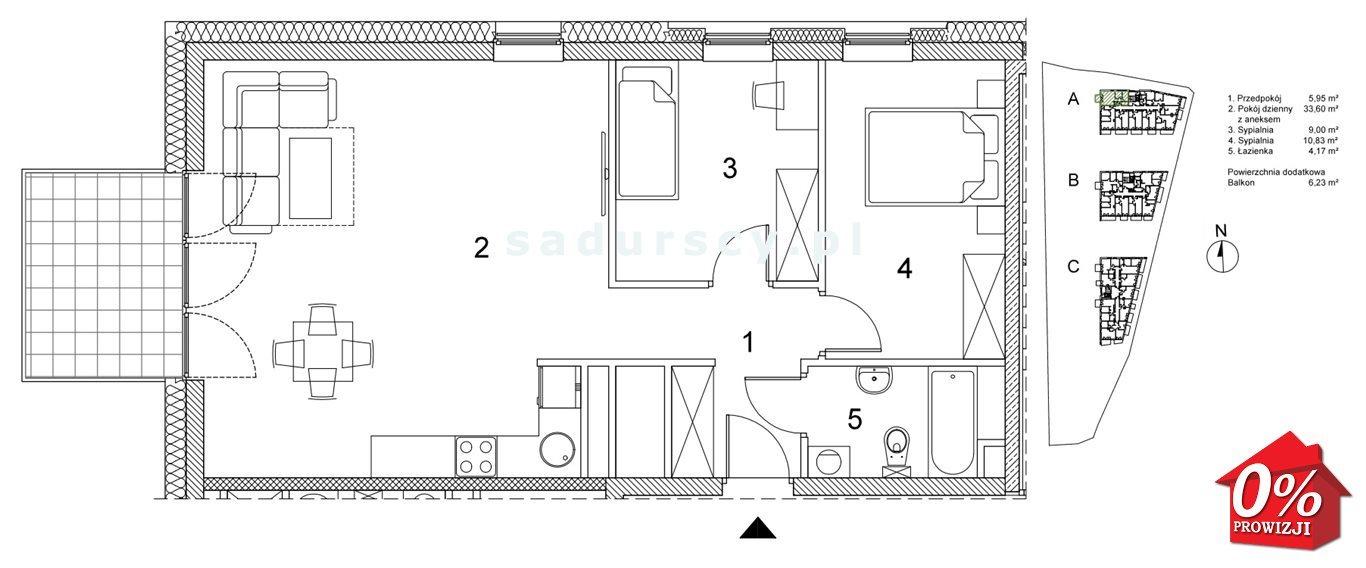 Mieszkanie trzypokojowe na sprzedaż Kraków, Podgórze, Płaszów, Saska - okolice  64m2 Foto 3
