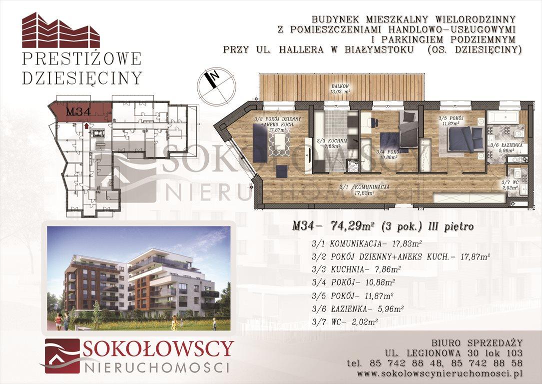 Mieszkanie trzypokojowe na sprzedaż Białystok, Dziesięciny, ul. Generała Józefa Hallera  74m2 Foto 1