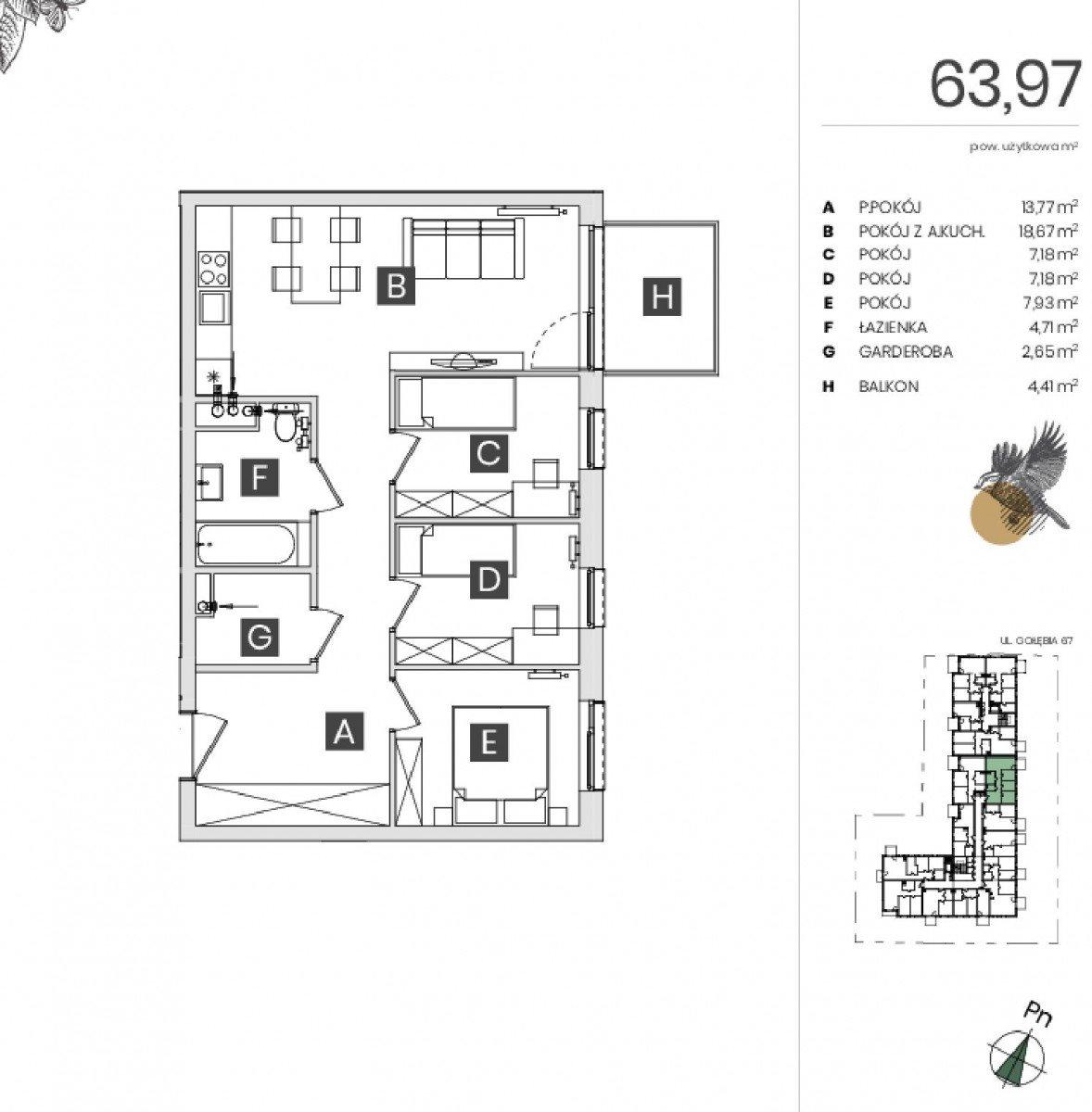 Mieszkanie czteropokojowe  na sprzedaż Bydgoszcz, Górzyskowo, Gołębia  64m2 Foto 5
