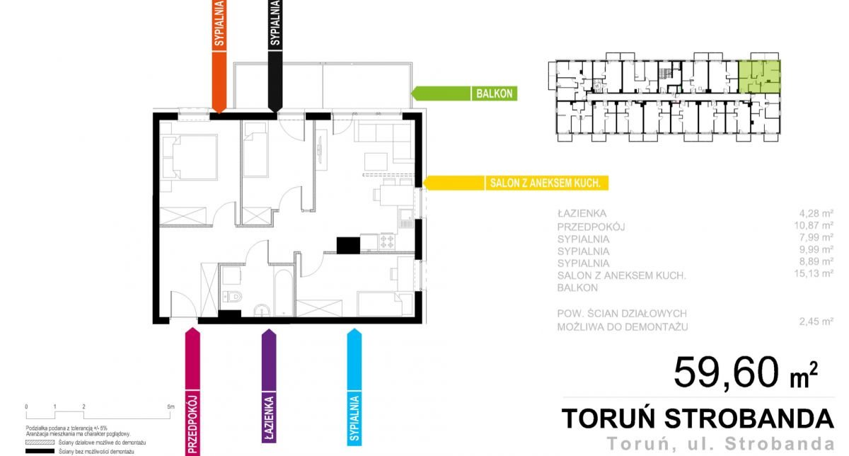 Mieszkanie czteropokojowe  na sprzedaż Toruń, Henryka Strobanda  60m2 Foto 1
