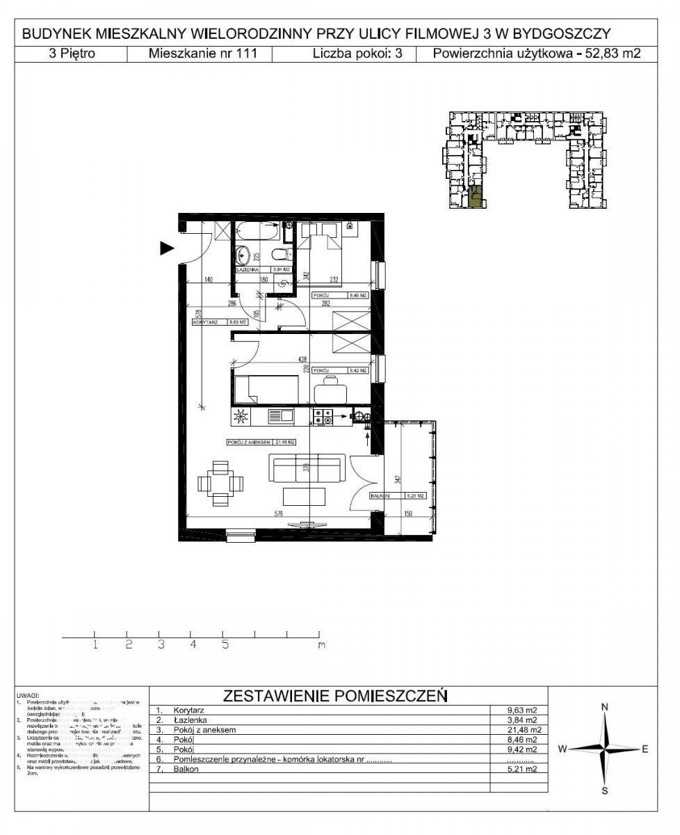 Mieszkanie trzypokojowe na sprzedaż Bydgoszcz, Bartodzieje Małe, Filmowa  53m2 Foto 5
